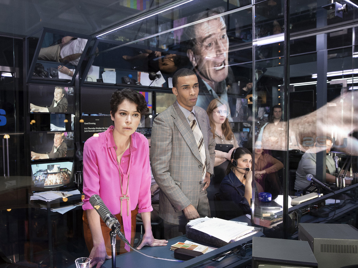 Tatiana Maslany as Diana Christensen, Julian Elijah Martinez as Harry Hunter and the cast of Network.