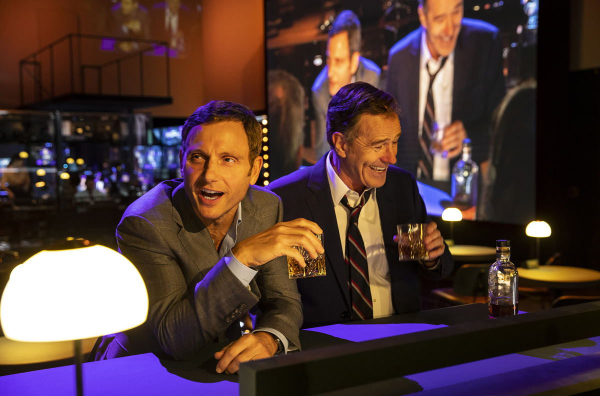 Tony Goldwyn as Max Schumacher and Bryan Cranston as Howard Beale in Network.