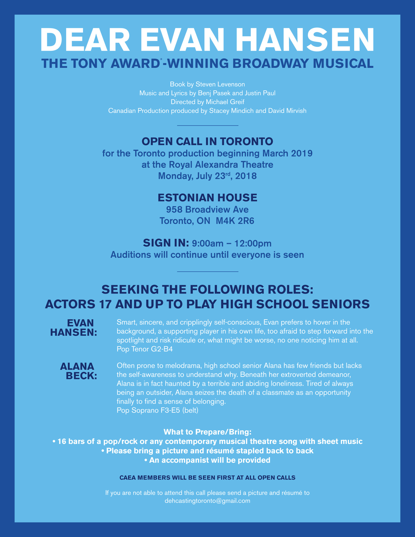 Odds & Ends: Dear Evan Hansen to Hold Open Casting Call in