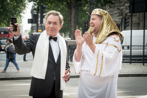 Watch Andrew Lloyd Webber & James Corden Mashup Phantom, Cats & Evita in a Hilarious Crosswalk the Musical