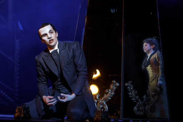Bronson Norris Murphy as The Phantom & Jake Heston Miller as Gustave in the national tour of Love Never Dies.