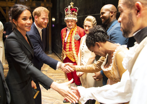 You'll Be Back! See Prince Harry & Meghan Markle Meet Lin-Manuel Miranda at Hamilton in the West End