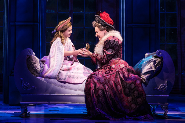 Victoria Bingham (Little Anastasia) & Joy Franz (Dowager Empress) in the national tour of Anastasia, photo by Evan Zimmerman