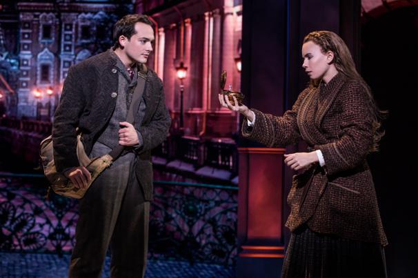 Lila Coogan (Anya) & Stephen Brower (Dmitry) in the national tour of Anastasia, photo by Matthew Murphy