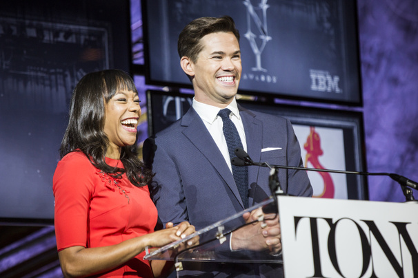 Nikki M. James & Andrew Rannells Are All Smiles Revealing the Nominees for the 70th Annual Tony Awards