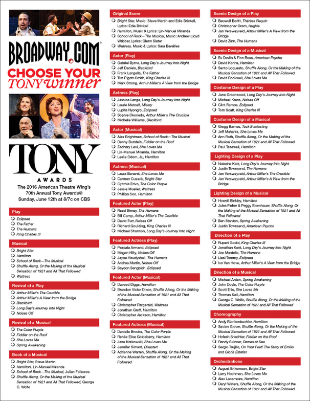 Keep Score at Home with Our Printable Tony Awards Ballot