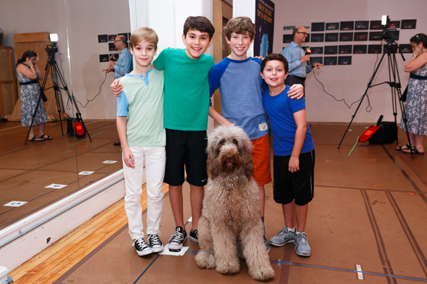 The boys of Finding Neverland, Mitchell Wray, Ben Krieger, Finn Faulconer and Jordan Cole, snap an adorable pic with Nana!