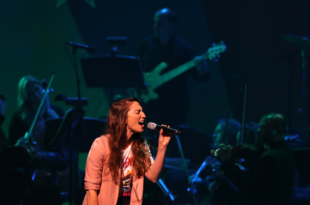 "Waitress' music mastermind Sara Bareilles shows off those powerful pipes with ""Brave.""(Photo: Justin Sullivan/Getty Images)"