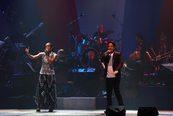 "Rock the vote? More like rap the vote! Renée Elise Goldsberry and Lin-Manuel Miranda re-vamp ""The World Was Wide Enough"" intro from Hamilton.(Photo: Justin Sullivan/Getty Images)"