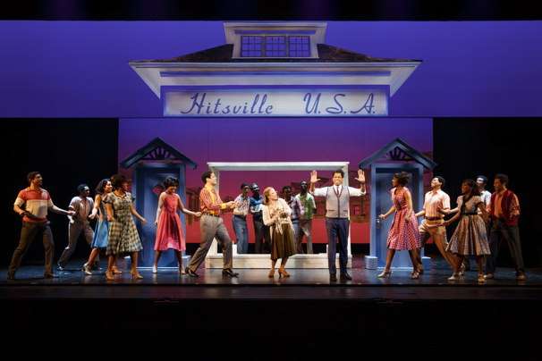 Chester Gregory as Berry Gordy & the cast of Motown The Musical