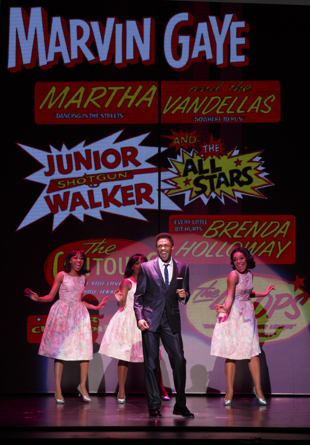 Jarran Muse as Marvin Gaye & the cast of Motown The Musical
