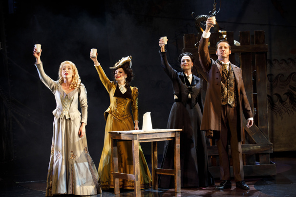 Mary Michael Patterson as Meg Giry, Meghan Picerno as Christine Daaé, Karen Mason as Madame Giry and Sean Thompson as Raoul in the national tour of Love Never Dies.