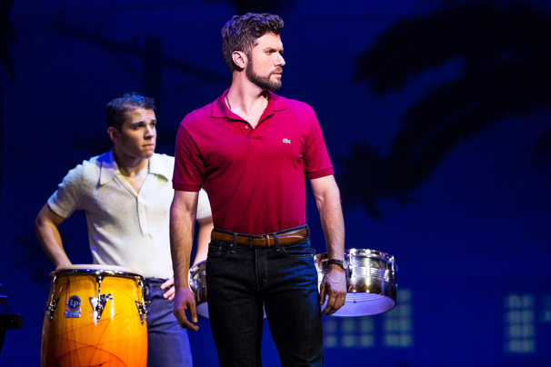 Adriel Flete and Mauricio Martinez as Emilio Estefan in the national tour of On Your Feet.