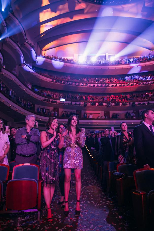 Original Broadway cast stars Andrea Burns and Ana Villafañe cheer on the national tour cast.