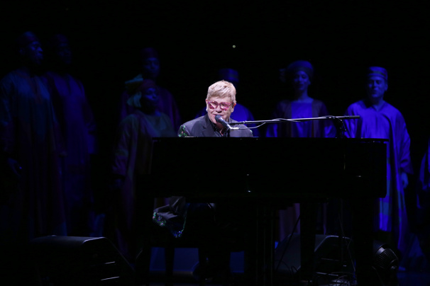 "Surprise! Tony winner Elton John hits the keys for a very special performance of ""Circle of Life.""(Photo: Walter McBride)"