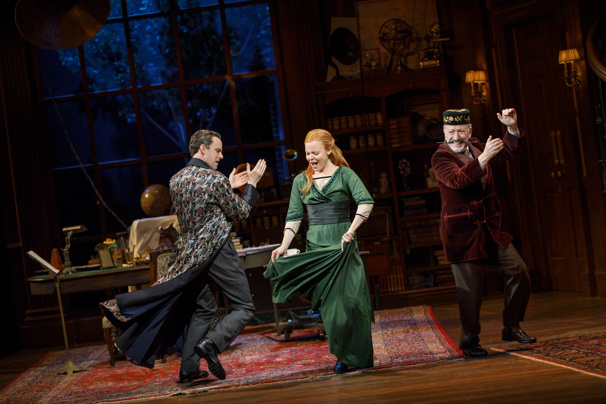 Henry Hadden-Paton as Henry Higgins, Lauren Ambrose as Eliza Doolittle and Allan Cordurner as Colonel Pickering in My Fair Lady.