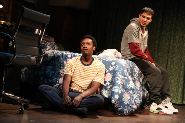 Ato Blankson-Wood as Clarence Matthews and Juan Castano as Cristofer Rodriguez in Transfers.