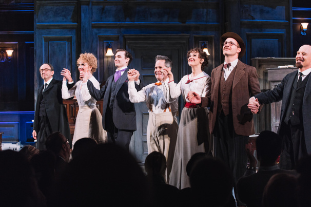 The cast of Travesties takes their opening night bow.