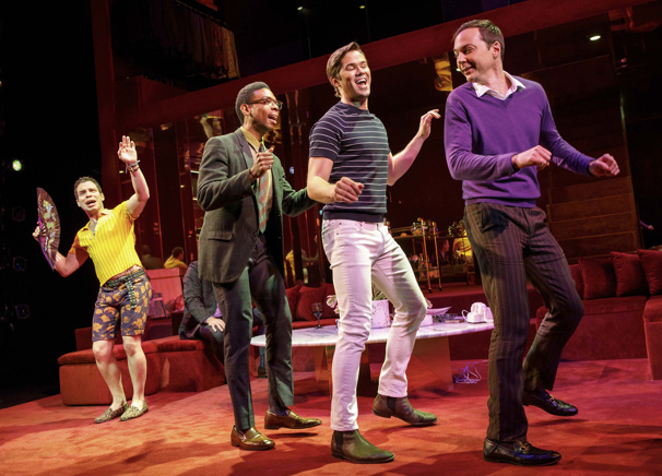 Robin De Jesús as Emory, Michael Benjamin Washington as Bernard, Andrew Rannells as Larry and Jim Parsons as Michael in The Boys in the Band.