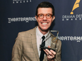 SpongeBob SquarePants' Gavin Lee proudly displays his Drama Desk Award.