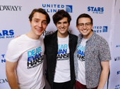 """Dear Evan Hansen cast members Michael Lee Brown, Alex Boniello and Will Roland smile after performing """"Sincerely, Me."""""""