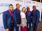 Upcoming Beautiful star Melissa Benoist poses with ensemble members Paris Nix, Nicholas Ryan, Sidney Dupon and Douglass Lyons.