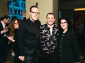 Once On This Island's scenic designer Dane Laffrey and director Michael Arden pose with Spongebob Sqaurepants director Tina Landau.