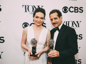The Band's Visit stars Katrina Lenk and Tony Shalhoub celebrate their wins for Best Leading Actress in a Musical and Best Leading Actor in a Musical.