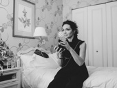 The Band's Visit Tony winner Katrina Lenk with her Tony Award.