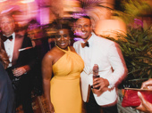 Uzo Aduba snaps a pick with The Band's Visit Tony nominee Ari'el Stachel.