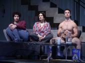 Eli Gelb as Benjamin, Idina Menzel as Jodi and Will Brittain as Trey in Skintight.