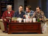 Stephen Payne as Ed, Josh Charles as Jake, Armie Hammer as Drew and Paul Schneider as Matt in Straight White Men.