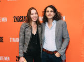 Tony-nominated playwright Lucas Hnath and Mona Pirnot snap a photo.