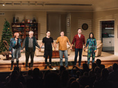 Straight White Men cast members Kate Bornstein, Stephen Payne, Josh Charles, Paul Schneider, Armie Hammer and Ty Defoe take their curtain call.
