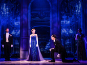 Lila Coogan (Anya), Stephen Brower (Dmitry) & the company of the national tour of Anastasia, photo by Evan Zimmerman