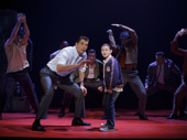 Joe Barbara (Sonny), Frankie Leoni (Young C) & the touring company of A Bronx Tale, photo by Joan Marcus