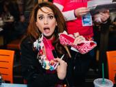 It's the Queen! Matilda diva Lesli Margherita shows off her fab heels at the Broadway Flea Market autograph table.