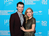 Let's take an old-fashioned walk—on the red carpet! Holiday Inn stars Bryce Pinkham and Lora Lee Gayer snap a sweet pic.