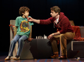 Anthony Rosenthal as Jason and Christian Borle as Marvin in Falsettos.