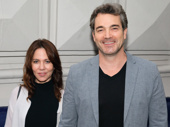 Leslie Urdang and Jon Tenney attend the Broadway opening of The Front Page.