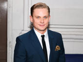 Broadway hunk Billy Magnussen attends the opening night of The Front Page.