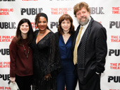 Sweat's Pulitzer Prize-winning playwright Lynn Nottage and director Kate Whoriskey surrounded by the Public's Mandy Hackett and Oskar Eustis.
