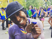 From purple to gold! The Color Purple Tony winner Cynthia Erivo completes the New York marathon.(Photo: Instagram.com/cynthiaerivo)
