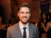 "Aaron Tveit flashes a smile before heading into the gala to perform ""Morning Glow"" from Pippin."