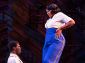 Kyle Scatliffe as Harpo and Carrie Compere as Sofia in The Color Purple.