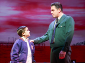 Hudson Loverro as Young Calogero and Richard H. Blake as Lorenzo in A Bronx Tale.
