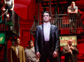Bobby Conte Thornton as Calogero and the cast of The cast of A Bronx Tale.