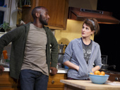 Phillip James Brannon and Nia Vardalos in Tiny Beautiful Things.