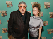 The Sopranos star Vincent Pastore and his guest step out for A Bronx Tale's opening night.