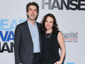 Theater couple Jason Robert Brown and Georgia Stitt attend the Broadway opening of Dear Evan Hansen.